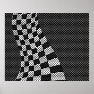 旗の波のプリントを競争させるカーボン繊維のスタイル ポスター