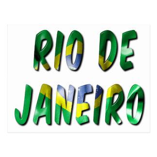 旗の質の郵便はがきとのリオデジャネイロの単語 ポストカード