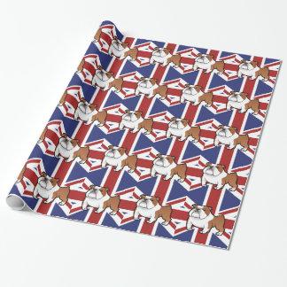 旗を持つ漫画ペット ラッピングペーパー