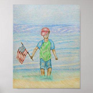 旗を持つ男の子 ポスター