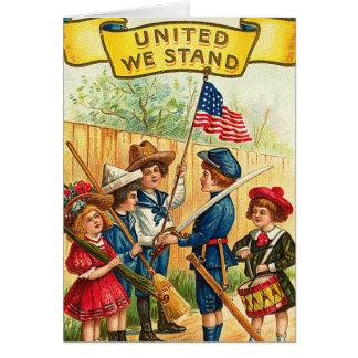 旗を持つ7月の子供のヴィンテージ第4 カード