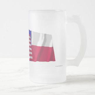 旗を振る米国およびテキサス州 フロストグラスビールジョッキ