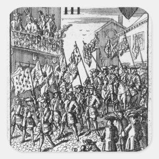 旗を描写するカードを遊ぶこと スクエアシール