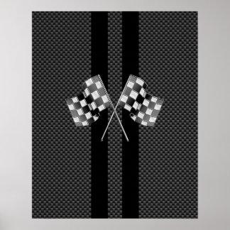 旗を競争させることはカーボン繊維のスタイルの装飾で縞で飾ります ポスター