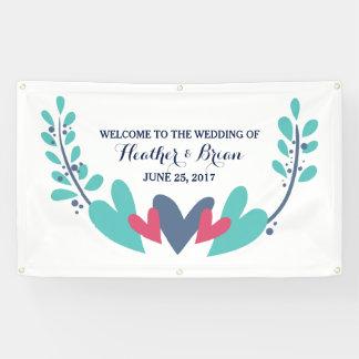 旗を結婚するハートおよびつる植物 横断幕