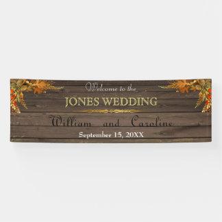 旗を結婚する素朴な木および金ゴールド 横断幕