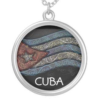 旗キューバ シルバープレートネックレス