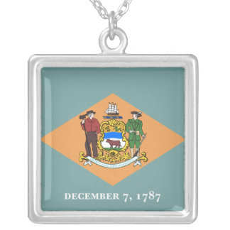 旗デラウェア州 シルバープレートネックレス