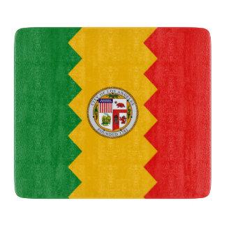 旗ロサンゼルスを持つ小さいガラスまな板 カッティングボード