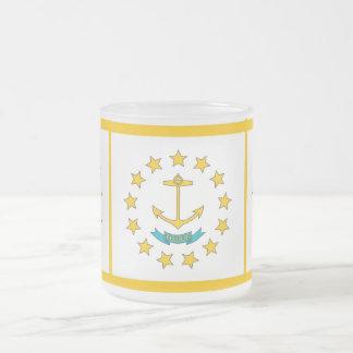 旗ロードアイランド米国が付いている曇らされた小さいガラスマグ フロストグラスマグカップ