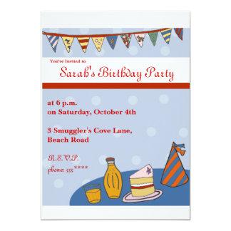 旗布のテンプレートのレトロのBrithdayのパーティーの招待 カード