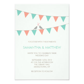 旗布愛鳥の結婚式招待状-青いピンク カード