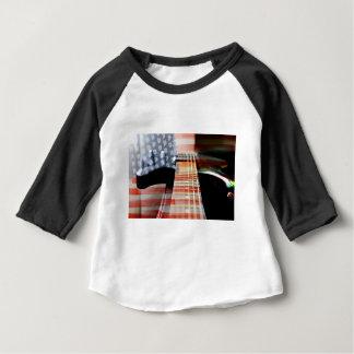 旗米国の旗のギターのエレキギター ベビーTシャツ