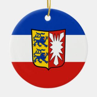 旗- Fahne - Flagge -ドイツSchleswigホルスタイン セラミックオーナメント