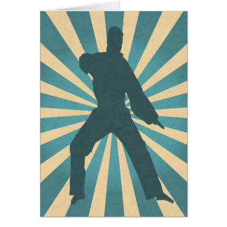 日が差すことのバースデー・カードが付いている空手のシルエット カード