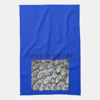 日のデザインの台所タオルの捕獲物 キッチンタオル
