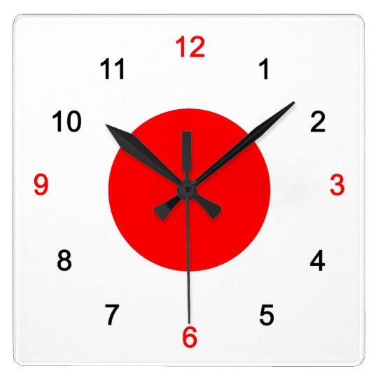日の丸 スクエア壁時計