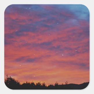 日の出および星のオーシャンサイドの日の出 スクエアシール