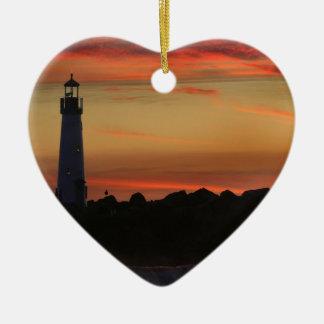 日の出のサンタクルスの灯台 セラミックオーナメント