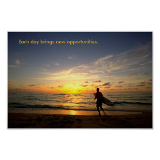 日の出のサーファー ポスター