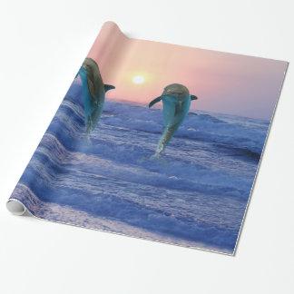 日の出のバンドウイルカ ラッピングペーパー