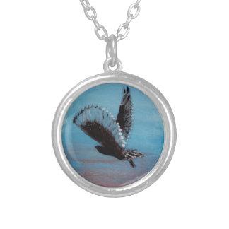 日の出のフクロウの芸術 シルバープレートネックレス