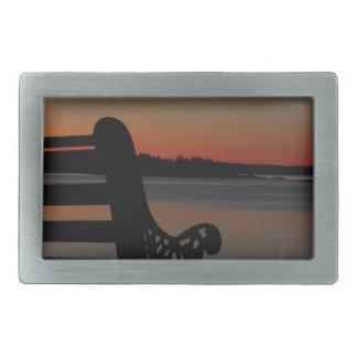 日の出のフリーポートのメインの月 長方形ベルトバックル