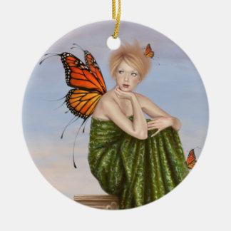 日の出のマダラチョウの妖精の円形のオーナメント セラミックオーナメント