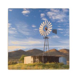 日の出の乾燥高原の風車そしてダム ウッドコースター