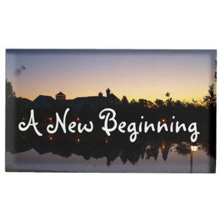 日の出の写真との新しい始めの結婚式句 テーブルカードホルダー