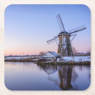 日の出の冬の風車、オランダのコースター スクエアペーパーコースター