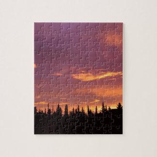 日の出の寒帯の森林アラスカ ジグソーパズル