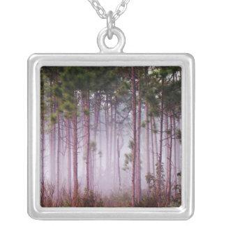 日の出の松の木、沼沢地間の霧 シルバープレートネックレス