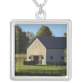 日の出の純血種の馬の農場の納屋、 シルバープレートネックレス