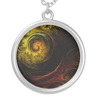 日の出の花の赤の抽象芸術の銀のネックレス シルバープレートネックレス