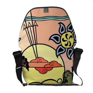 日の出の芸術のメッセンジャーバッグの草原のゲート メッセンジャーバッグ