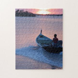 日の出、パズルのモーターボート ジグソーパズル