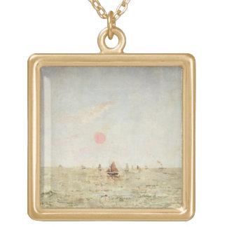日の出(パネルの油)のボート ゴールドプレートネックレス