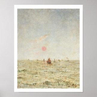 日の出(パネルの油)のボート ポスター