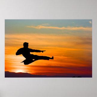 日の出、ポスターの空手の蹴り ポスター