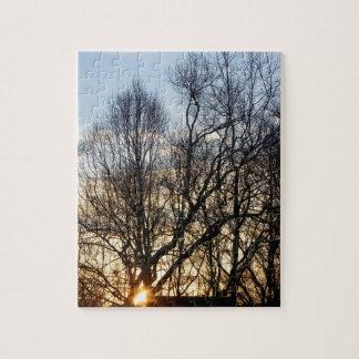 日の出、木、カロライナの青空 ジグソーパズル