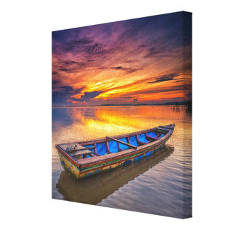 日の出| Jubakarのビーチの漁船 キャンバスプリント