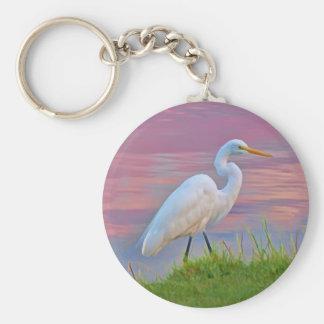 日の出Keychainで散歩している素晴らしい白鷺 キーホルダー