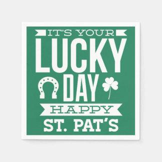 日のSt patricks dayの幸運なナプキン スタンダードカクテルナプキン