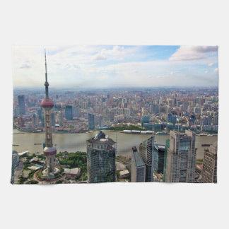 日までに上海のスカイライン キッチンタオル