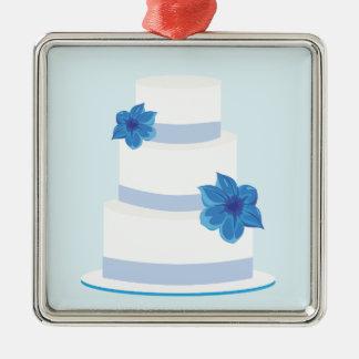日付かウエディングケーキのプリントを救って下さい メタルオーナメント