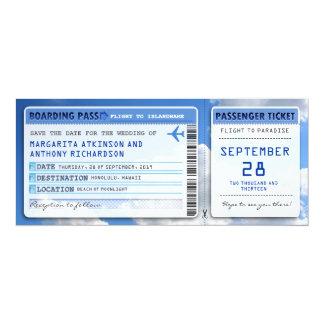日付が空の雲と札をつける搭乗券の保存 10.2 X 23.5 インビテーションカード