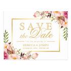 日付のエレガントでシックなピンクの花の金ゴールドフレームを救って下さい ポストカード
