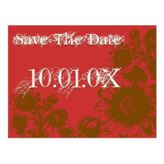 日付のカラメルのカフェの花のGojiの果実の赤を救って下さい ポストカード