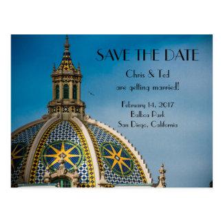 日付のバルボア公園のサンディエゴの結婚式を救って下さい ポストカード